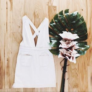Urban Outfitters Overall White Denim Dress